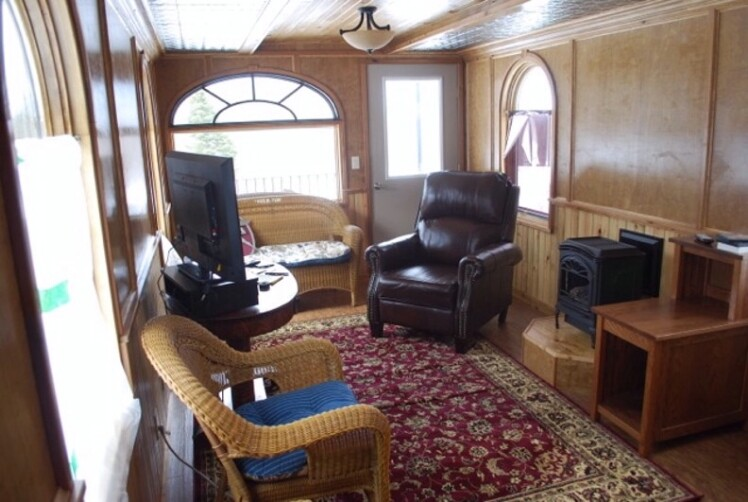 Tiny House Inside And Out caboose transformed into a tiny house. check out how this couple