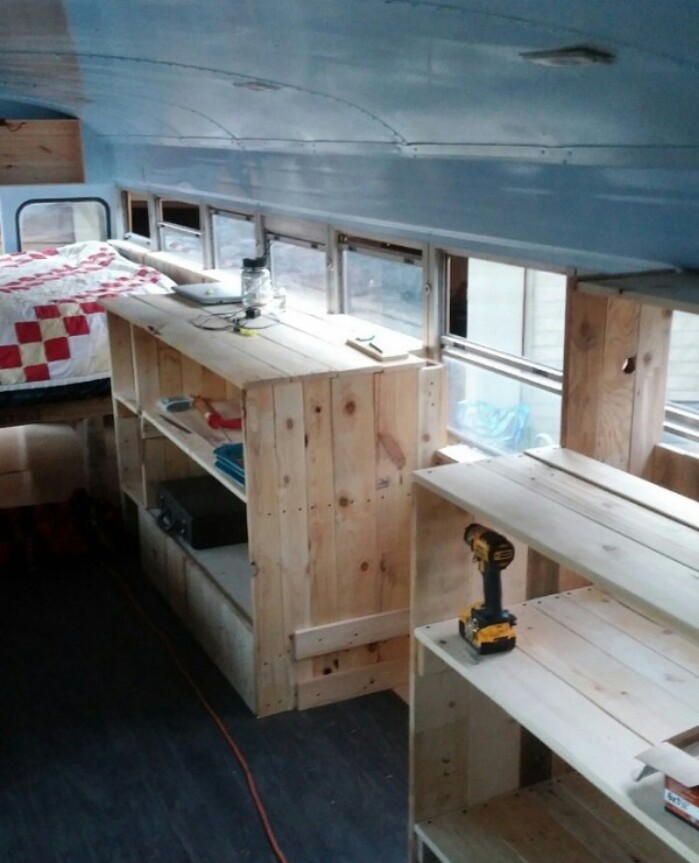check out this couple s fully converted blue bird bus home and