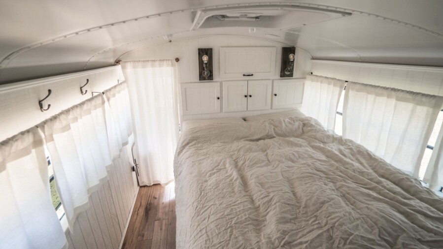 It Used To Be a School Bus … Now It's a Cozy Loft On Wheels!
