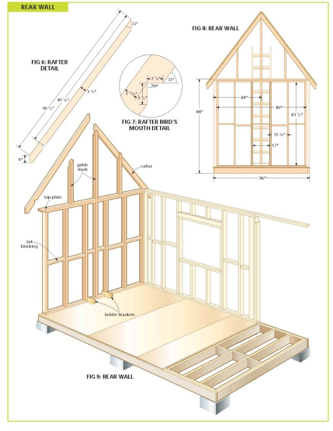 Completely free 108 sq ft cottage wood cabin plans for Small easy to build cabin plans