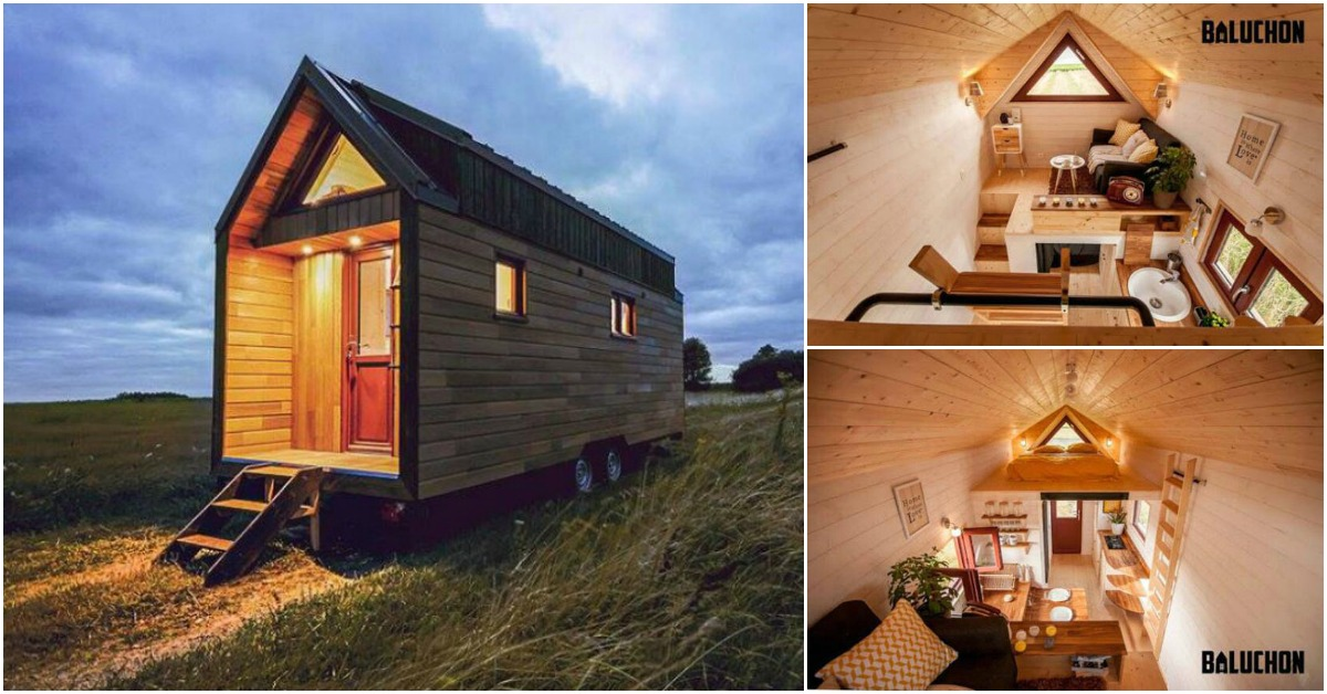 baluchon s incredibly cozy tiny house features a warm and rustic color scheme tiny houses. Black Bedroom Furniture Sets. Home Design Ideas