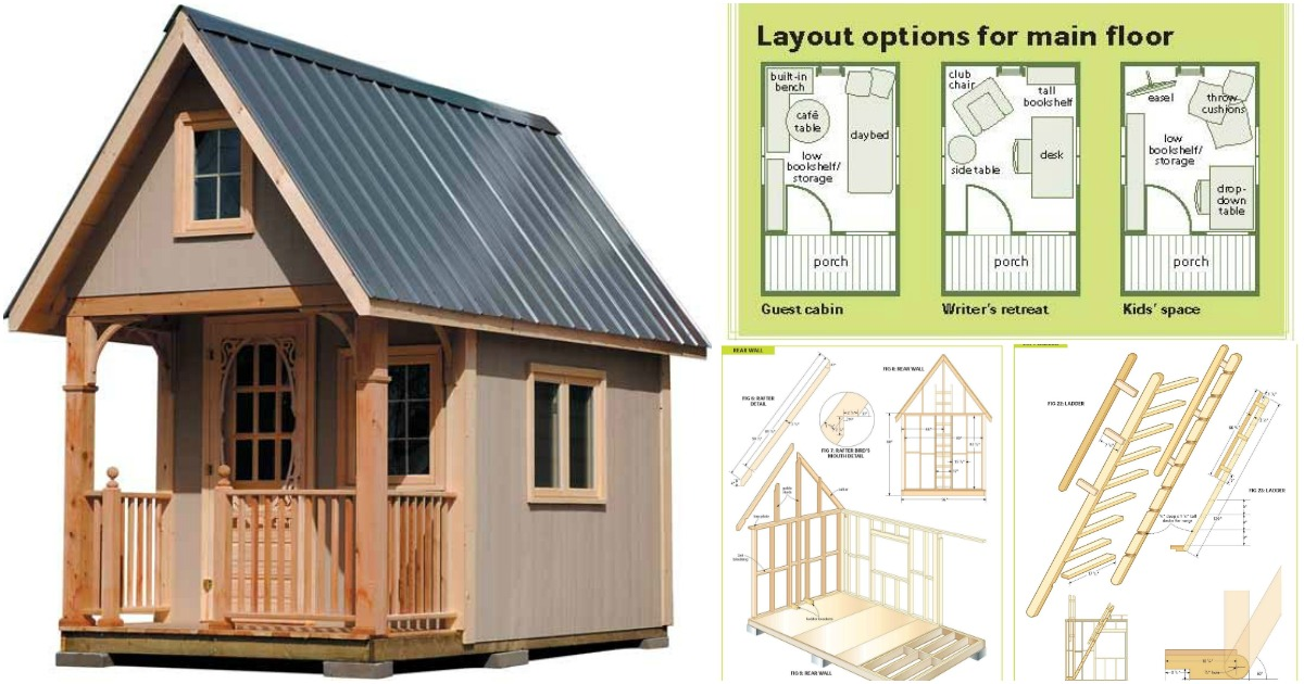 Getaway Tiny House >> Completely Free 108 Sq. Ft. Cottage Wood Cabin Plans - Tiny Houses