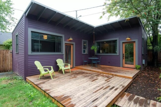 Brilliantly clever l shaped purple tiny house in for L shaped house pictures