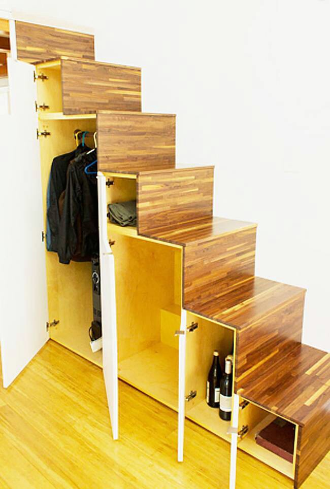 Leave room under the stairs for a closet.