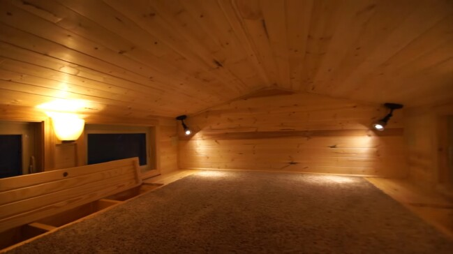Check out this gorgeous sub-floor storage in the loft of the Shenandoah Tiny House.
