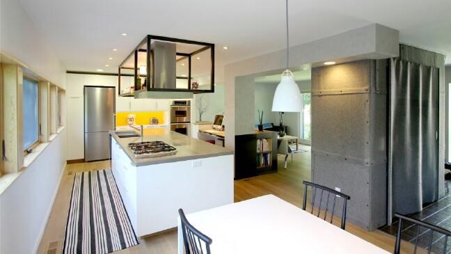 Open overhead shelves create a sense of openness.