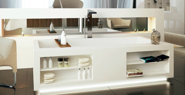 Purchase a bathtub with storage compartments.