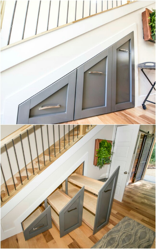Here is another way to create under-the-stairs storage.