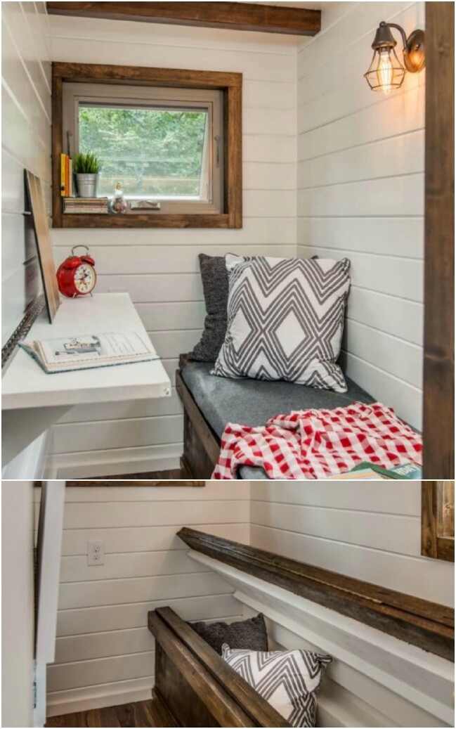 Under-the-bench storage saves space and offers convenience.