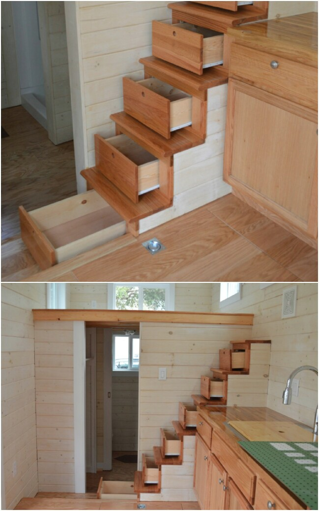 Storage cabinets under the stairs are a tiny house mainstay.