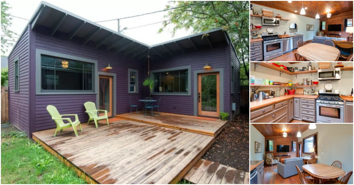 "Brilliantly Clever ""L"" Shaped Purple Tiny House in"