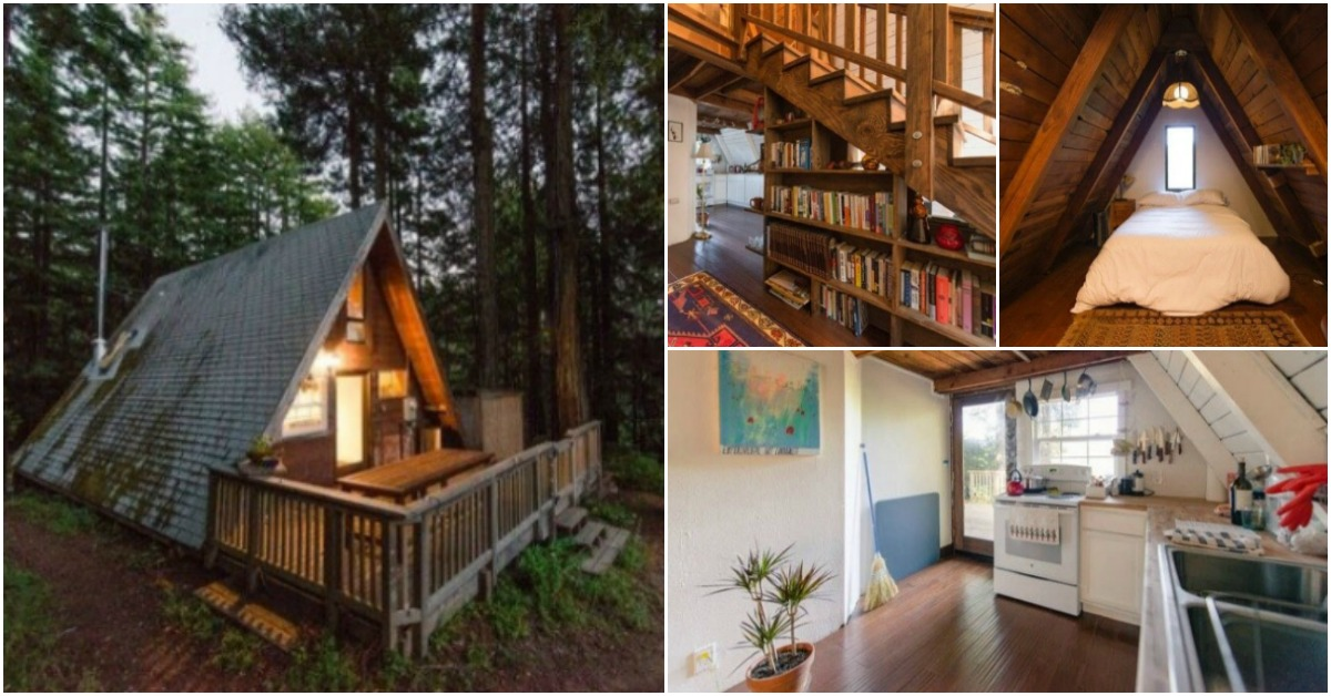 This Tiny Cabin In The Redwoods Is The Perfect Getaway For: Mythical A-Frame Tiny House Waits For You In The