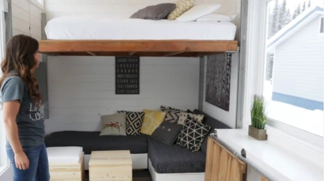 selftaught builder graduates to incredible tiny house with elevator bed