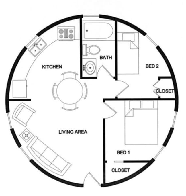 Weve Found The Cutest Tiny House By Lexa Dome Homes Tiny Houses - Round house floor plans