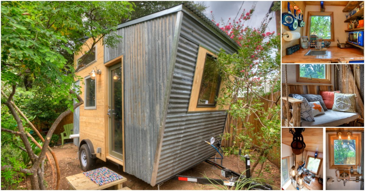 Austin tx woman designs funky tiny house to rent out for Funky home designs
