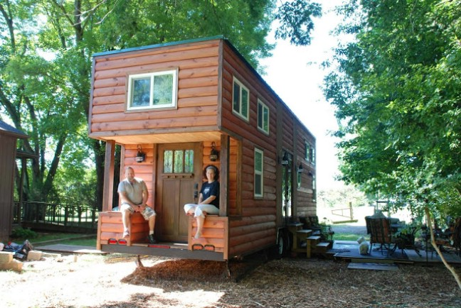 custom tiny house trailer. The Home Was Given Tons Of Windows And Concealed Storage Spaces Accessed From End Trailer. We Love Cabin Style With Traditional Log Siding Custom Tiny House Trailer