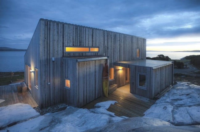 Tiny House Built on Rock in Norway Works with the Rough Terrain