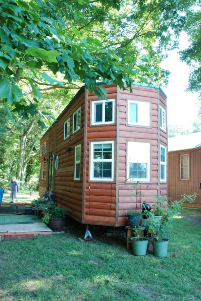 custom tiny house trailer. Inside, The Home Is Bright And Airy Thanks To A Super Tall Ceiling Tons Of Windows Glass Doors. Living Room Sunken With Full-sized Couch Custom Tiny House Trailer H