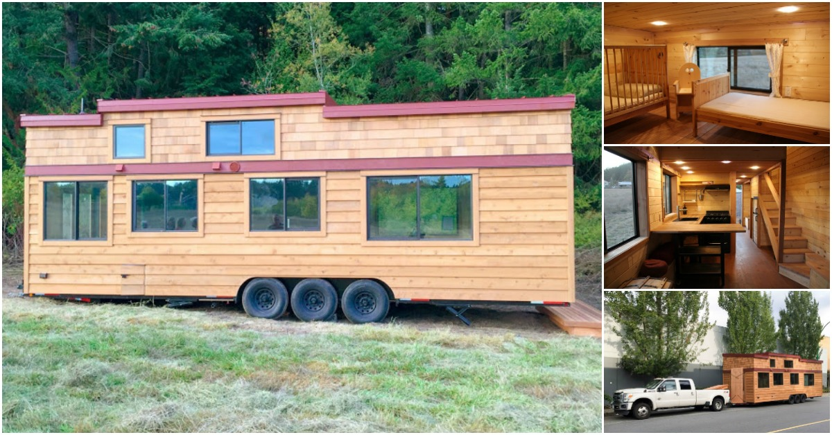 450sf tiny house made for a family of four proves going tiny isn t just for couples tiny houses. Black Bedroom Furniture Sets. Home Design Ideas
