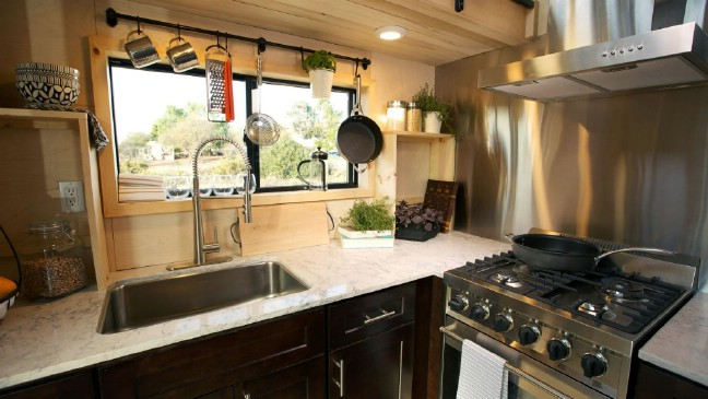 Outdoorsy Couple Design 280 Square Foot Tiny House with Chef's Kitchen