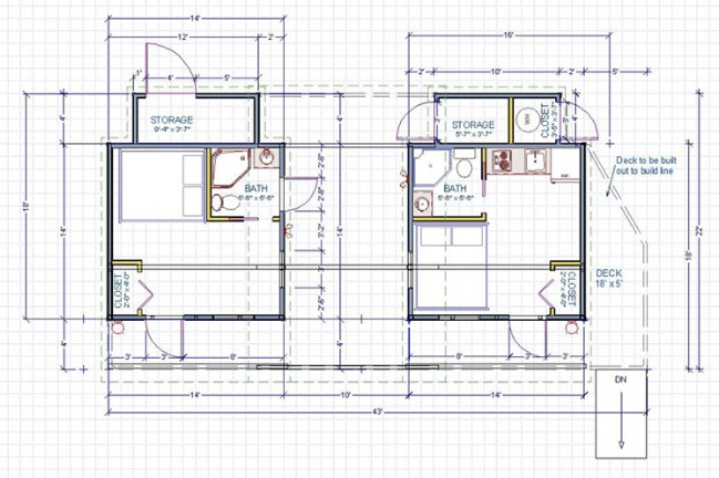 14x14 modern dwelling double tiny house with breezeway by for 14x14 deck plans