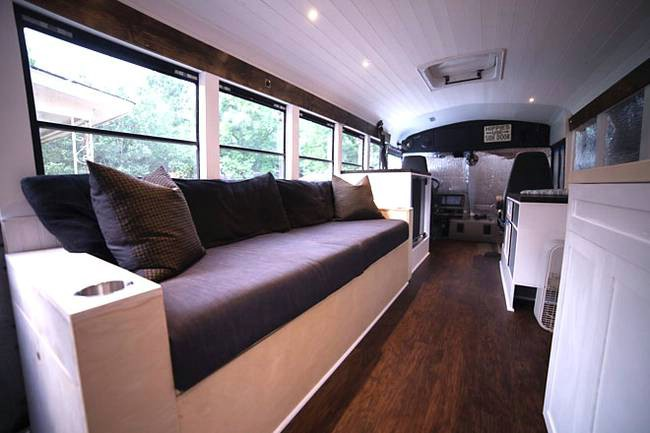 tiny house school bus. Techy Couple Convert School Bus Into Modern Tiny House And Escape The 9-5