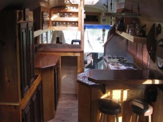 Woodworker's Son Remodels Old Green Bus into One-of-a-Kind Tiny House