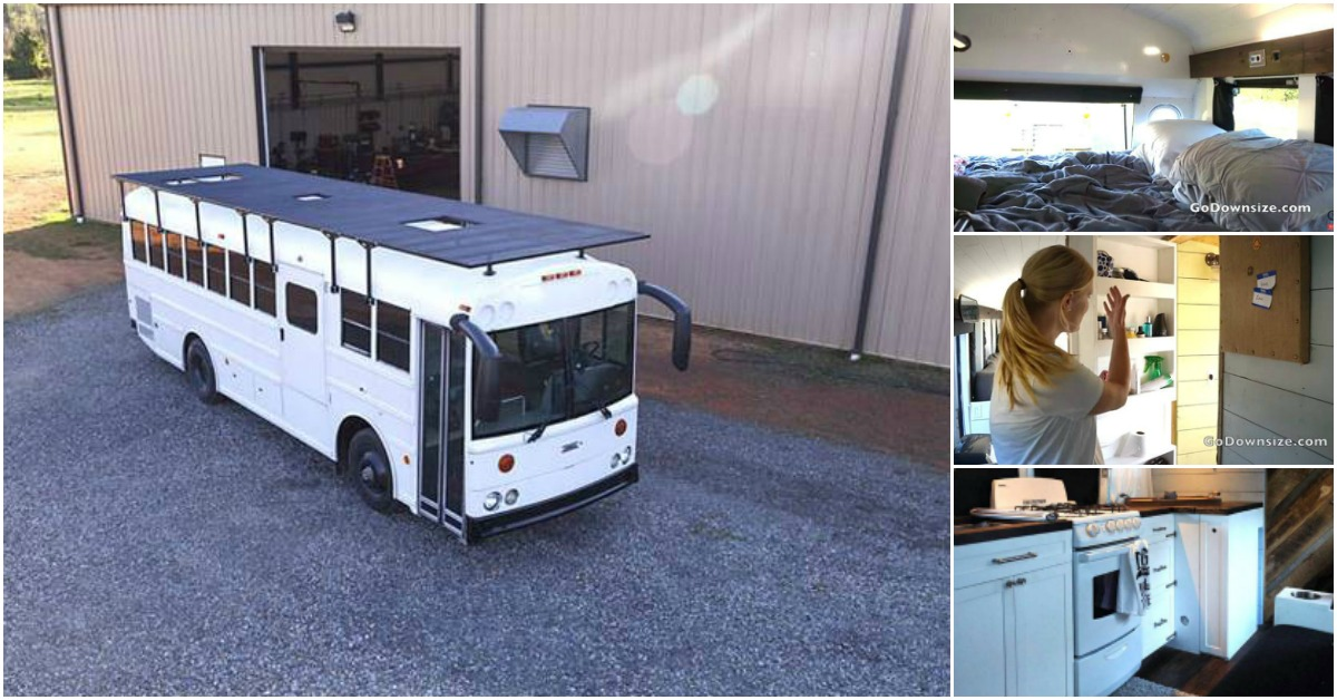Techy Couple Convert School Bus into Modern Tiny House and