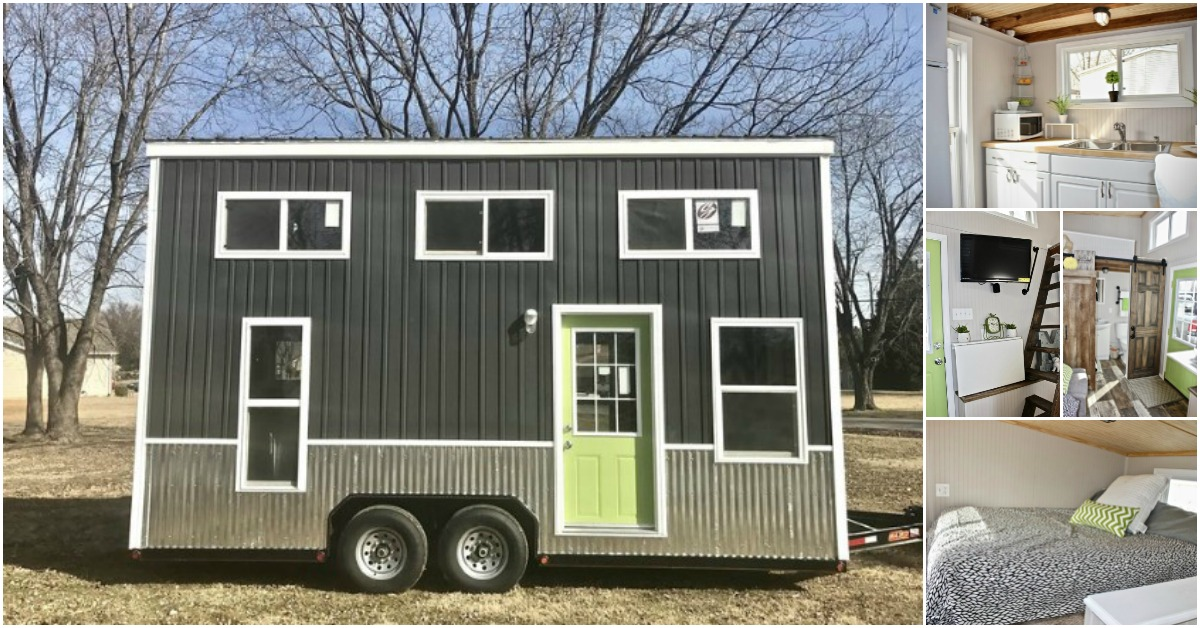 The chick shack lime green tiny house by mini mansions for Mini mansions houses