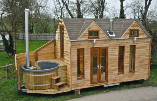 Tiny house with a tiny hot tub by tiny wood homes of england tiny houses - Houses maramures wood ...