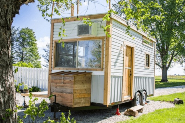 gorgeous and trendy 200 square foot tiny house for sale with a copper fridge - Tiny Cottage For Sale