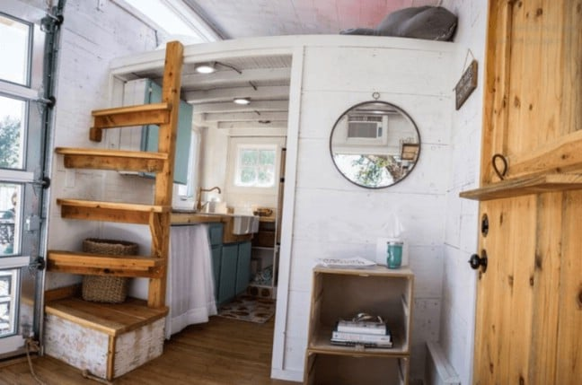 Gorgeous And Trendy 200 Square Foot Tiny House For With A Copper Fridge