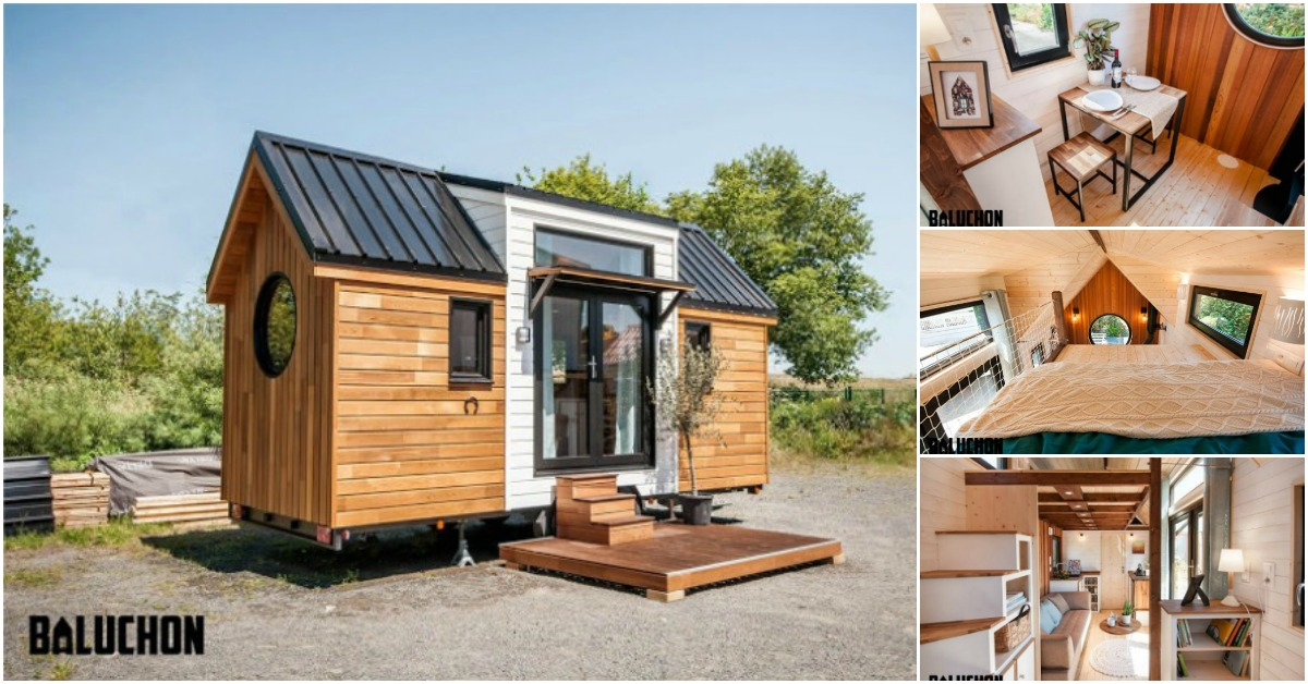 open and stunning tiny house made for horse farm in france. Black Bedroom Furniture Sets. Home Design Ideas