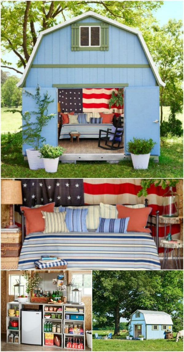 Go All-American - Top 80 Gorgeously Comfortable She Sheds and Backyard Tiny Houses