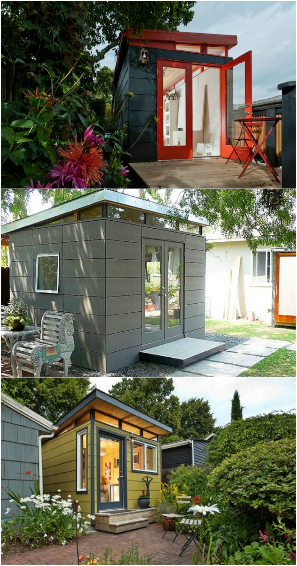 Use Vibrant Contrasts For An Eye-Catching Look - Top 80 Gorgeously Comfortable She Sheds and Backyard Tiny Houses