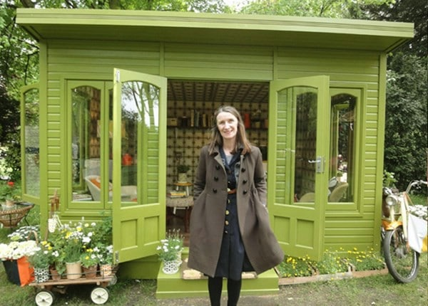 Green Paint and Big Windows - Top 80 Gorgeously Comfortable She Sheds and Backyard Tiny Houses