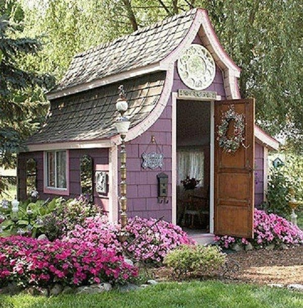 Quaint Cottage in Mauve - Top 80 Gorgeously Comfortable She Sheds and Backyard Tiny Houses