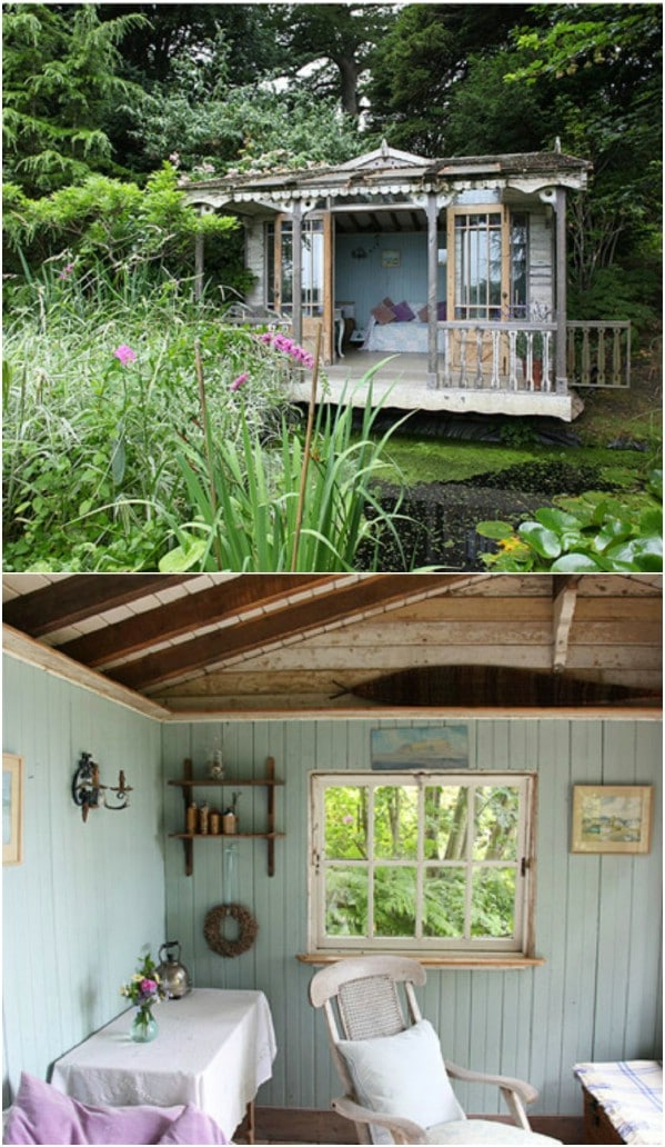 Rustic Teal Cottage with a View of the Sea - Top 80 Gorgeously Comfortable She Sheds and Backyard Tiny Houses