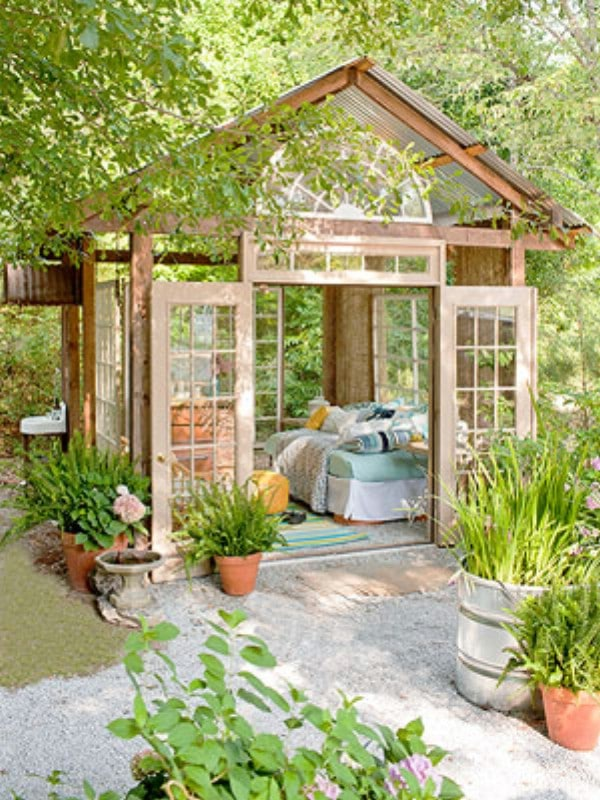 Greenhouse-Style Shed With Free Plans - Top 80 Gorgeously Comfortable She Sheds and Backyard Tiny Houses