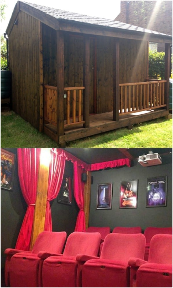 The Ultimate Home Theater - Top 80 Gorgeously Comfortable She Sheds and Backyard Tiny Houses