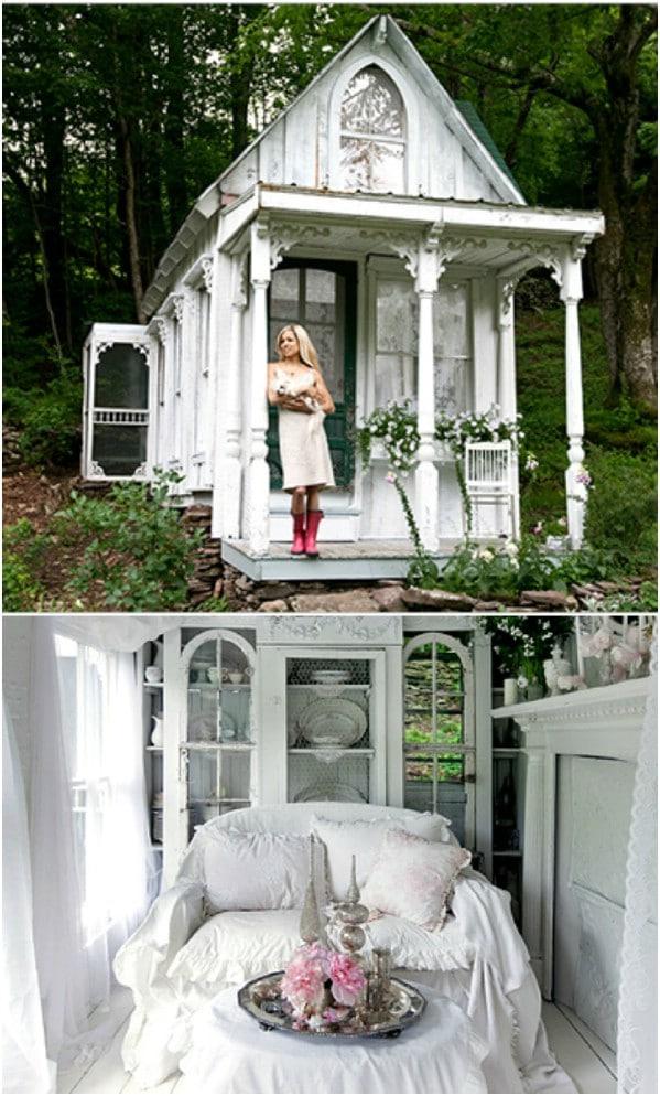 Victorian Catskills Cottage σε λευκό - Top 80 Gorgeously Άνετα Έχει υπόστεγα και μικρές κατοικίες Backyard