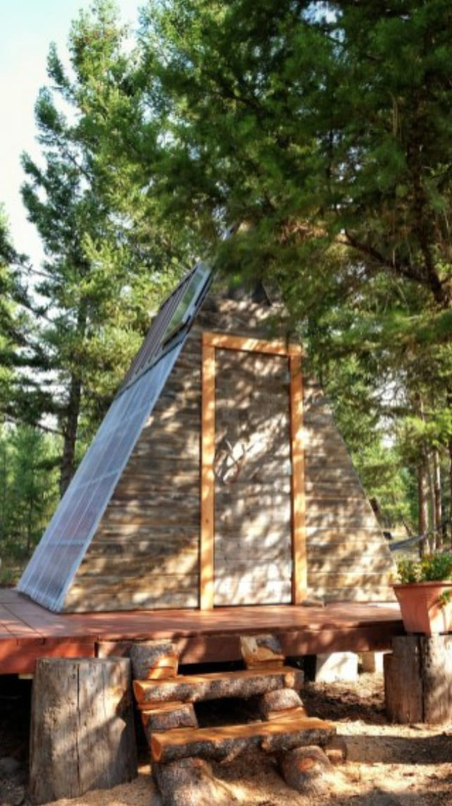 This tiny a frame cabin took 3 weeks to build and cost for A frame cost