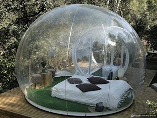 This Tiny Backyard Bubble Tent Family Is Inflatable