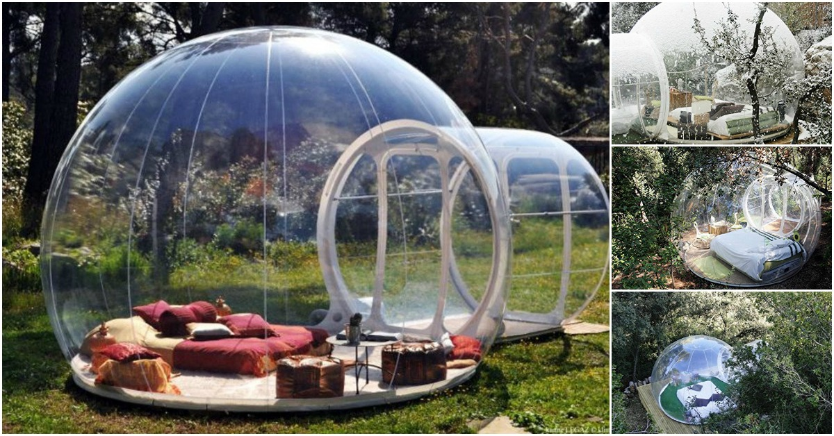 This Tiny Backyard Bubble Tent Family Is Inflatable Tiny