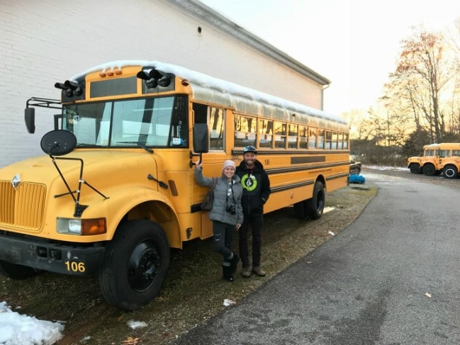 Forrest and Jessica with their 2002 International School Bus.