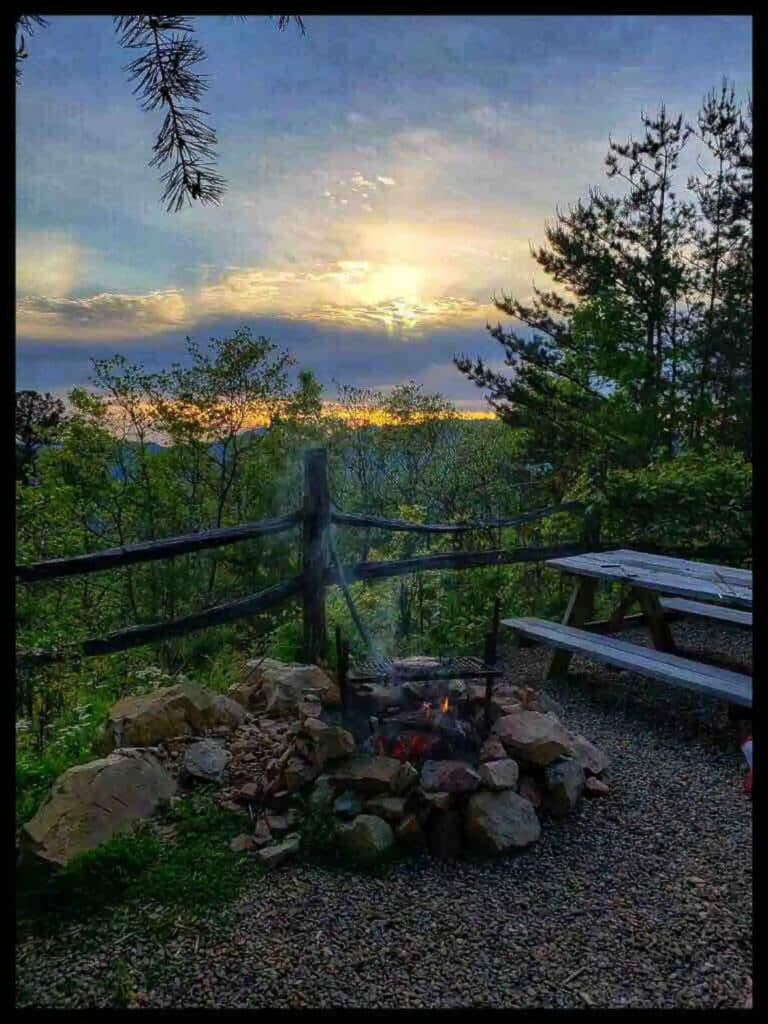 View of smoky mountains from tiny cabin