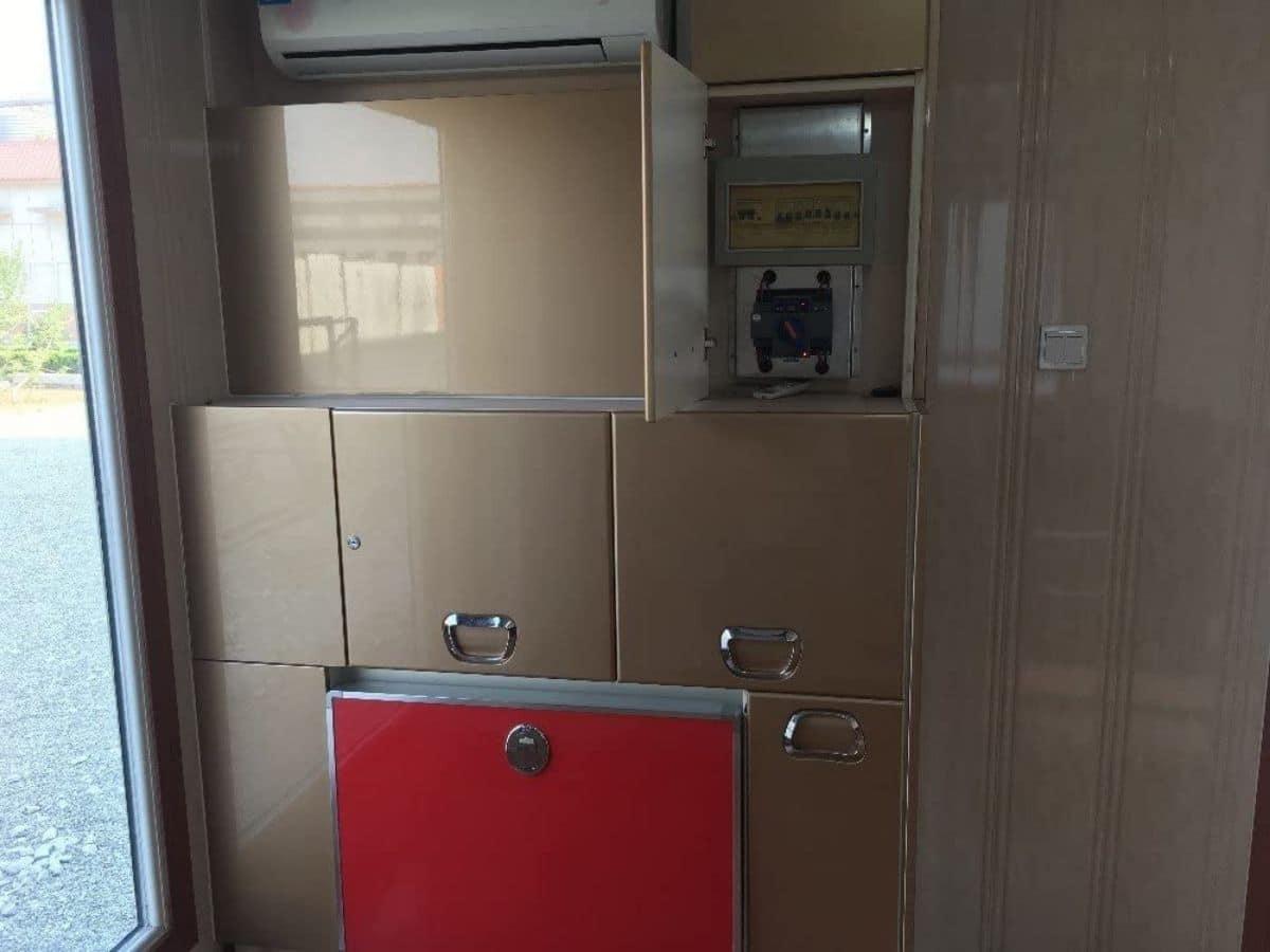 Kitchen unit behind metal doors