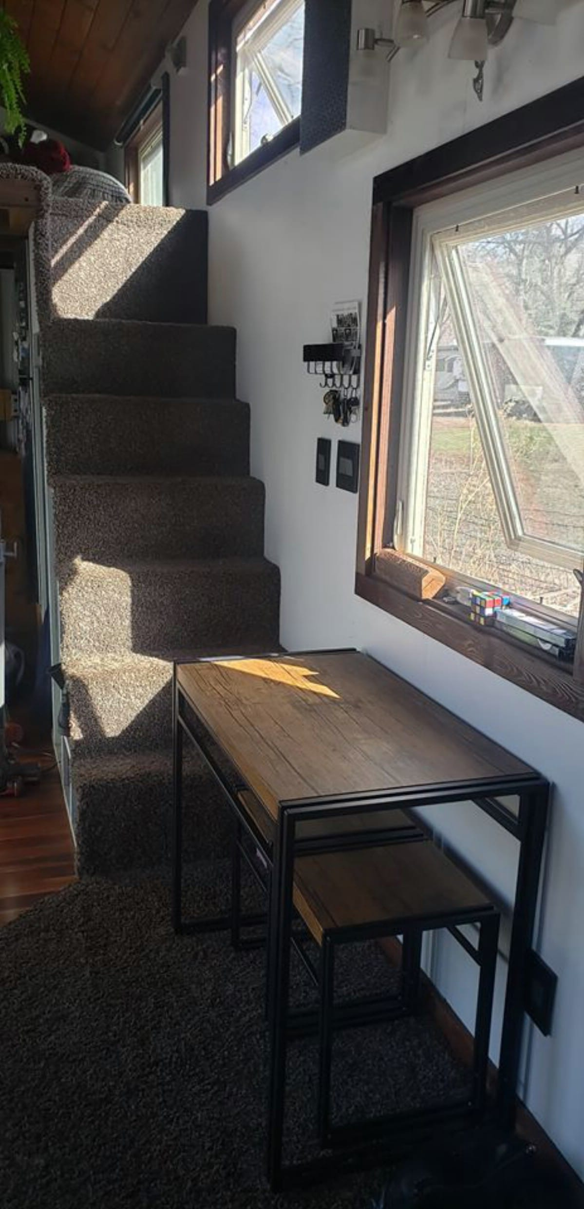 Stairs leading to tiny house loft