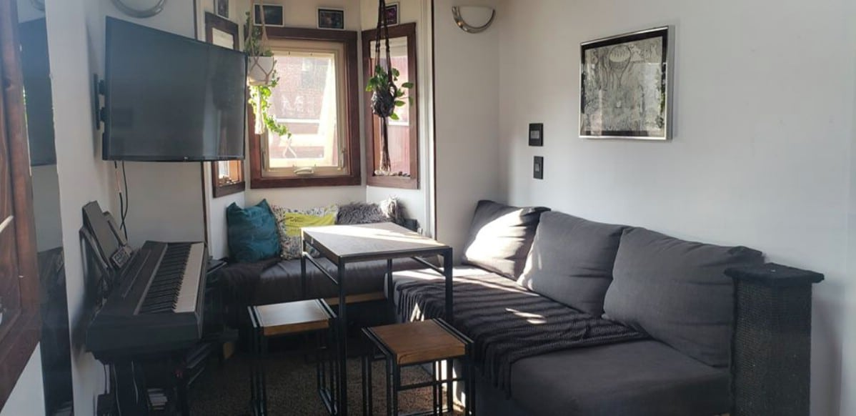 Tiny home couch with bay window