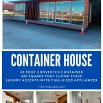 Converted container home collage